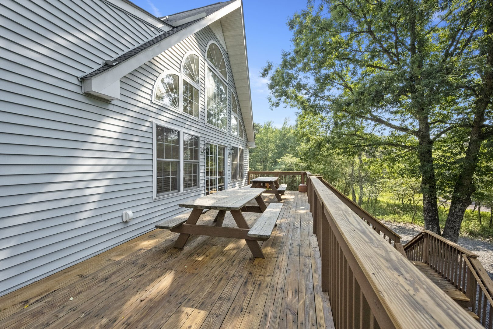 Deck with Benches and Door to Great Room