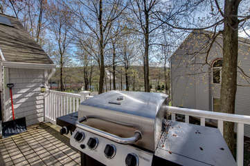 grill overlooking the hills at this pocono vacation home rental