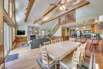 Great Room, Dining Area, and the Kitchen in this Vacation Rental