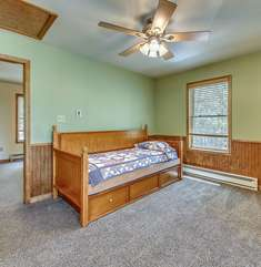Bedroom with a Single Bed in our Poconos Lodge Rental