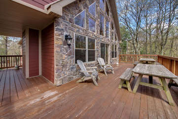 Large Wooden Deck Attached to Pocono Lakefront Rental.