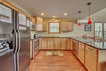 The Kitchen Located Within Our Pocono Lakefront Rental.