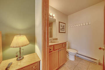 An Image of the Bathroom Attached to Bedroom in Our Pocono Lakefront Rental.