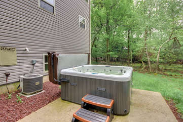Outdoor Hot Tub Located in the Backyard of Our Vacation Rental in the Poconos by Lake.