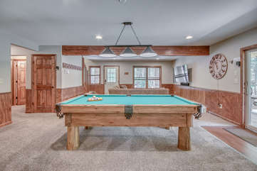 Game Room with Pool Table in our Poconos Vacation Home Rental