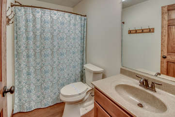 One of the Bathrooms in On The Rocks Poconos Vacation Home Rental