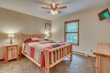 Bedroom with Flat Screen TV, Ceiling Fan and Nice Views
