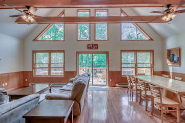 Great Room with windows facing Deck