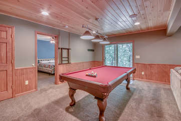 Game Room with Pool Table and Adjacent Bedroom