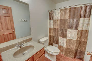 Bathroom with Brown Patterned Shower Curtain, Toilet and Sink