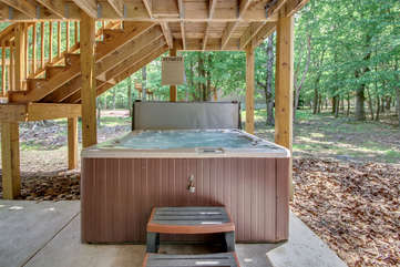Hot Tub Under the Deck of our Poconos Vacation Rental
