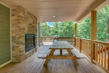 Deck with Bench Seating and Fireplace