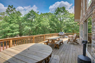 Deck with Tables, Chairs and a Grill at our Poconos Vacation Rental