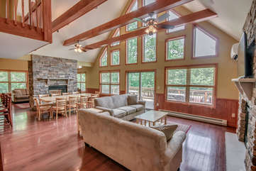 Great Room with Dining Table and Sofas in our Poconos Vacation Rental