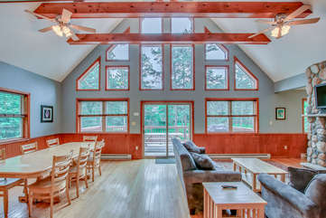 Great Room with windows to Deck view
