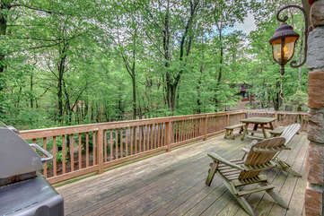 Outdoor Patio with Grill, Chairs, Picnic Table and Forest View.