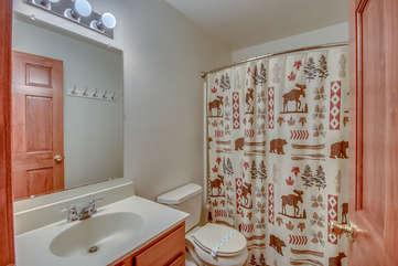 Bathroom with Sink, Mirror, Toilet, and Shower with Curtain.