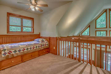 One Bed on the Upper Floor with Ceiling Fan.