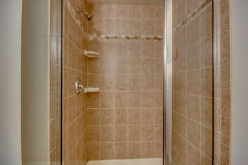 Shower with Glass Door Open of our Lake Harmony Vacation Home.