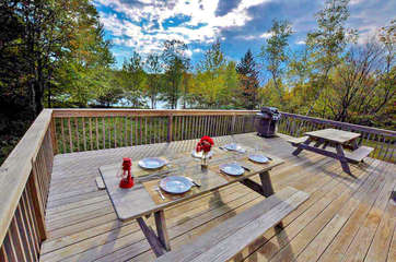 Two Picnic Tables on the Deck of our Vacation Rental Near Lake Shangri-La.