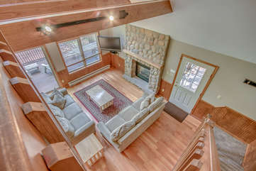 Birds eye view of living room from second floor