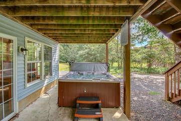 Private Spa Under the Deck at our Poconos House Vacation Rental