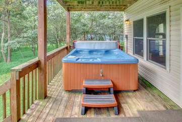 Hot Tub on the Deck of our Towamensing Trails Vacation Rental.