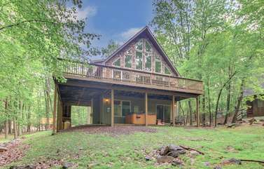 A Photo of the Outside of Our Pocono Mountain Lakefront Rental.