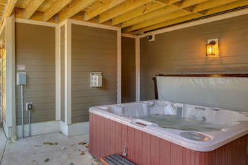 Private Hot Tub at our Poconos Luxury Rental