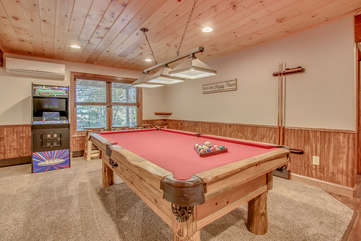 Pool Table in the Game Room at our Poconos Luxury Rental