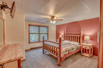 Bedroom with Bed, Nightstands and Ceiling Fan