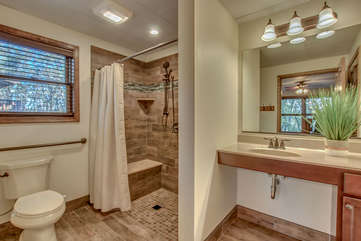 Bathroom with Toilet, Walk-In Shower and Sink