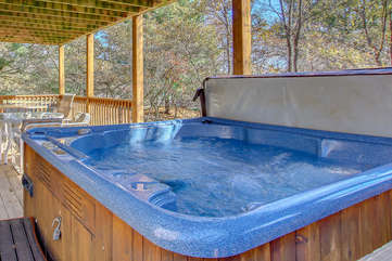 Hot Tub Featured in Backyard of Our Poconos Lake Rental.