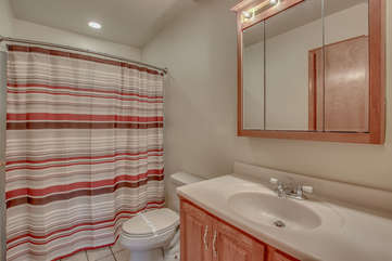 Bathroom Featuring Large Sink, Mirror and Shower.