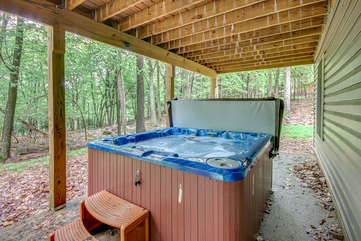 Outdoor Hot Tub under the Deck