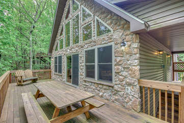 Outdoor Deck of a Lake Harmony Cabin Rental