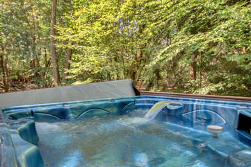 A picture of the hot tub, filled with water, and a view of the forest beyond.