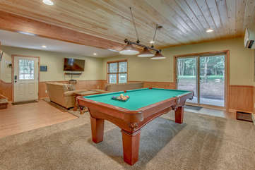 Game Room with Pool Table in our Pocono Mountain Vacation Home