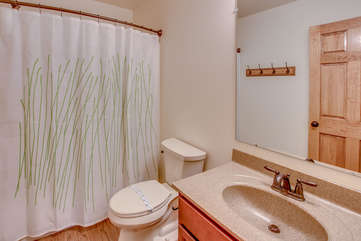 Bathroom inside this Pocono Mountain Vacation Home