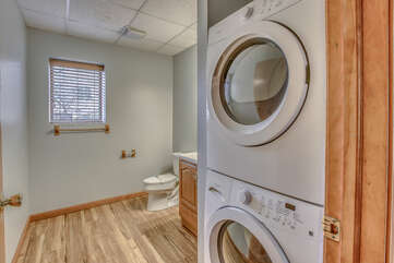 Washer and Dryer Featured in Bathroom.