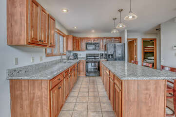 Spacious Kitchen Featuring Wooden Cabinets.