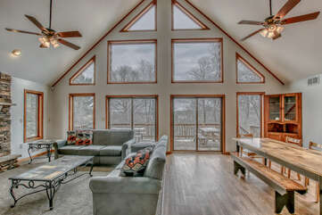 Large Windows Overlooking Living and Dining Room.