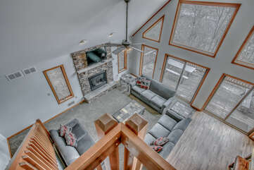An Image Looking Down Into Large Living Room.