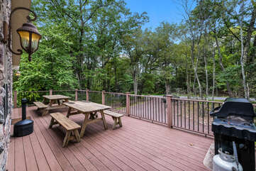 Deck and grill at this Pocono Getaway Rental