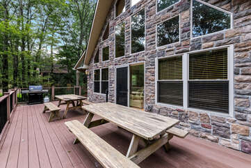 Back deck and grill on our Pocono Getaway Rental