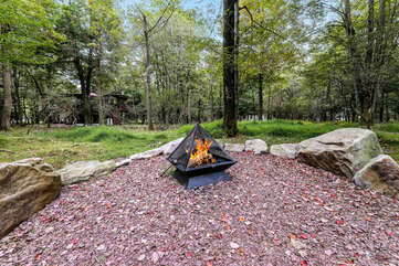 Pyramid Fire Pit in the Woods