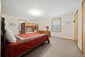 First Floor Bedroom with Twin Bunk Beds and Queen Bed