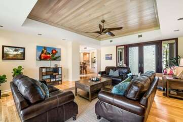 Sofas, Ceiling Fan, and Smart TV