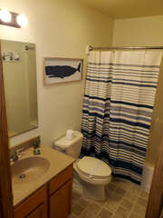 Bathroom with nautical decorations