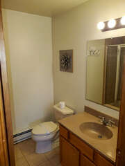 Smaller bathroom with light decorations